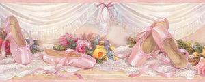 Eloise Pink Ballet Slippers Portrait Border-satin ballet slippers, or point shoes, are delicately placed next to bouquets and satin drapes.