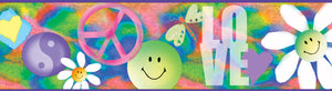 Garcia Pink Happiness Busy Toss Border-this psychedelic border of tie dye, smiley faces, yin-yang signs, daisies, and hearts