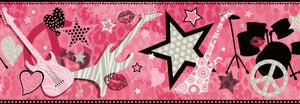 Blondie Pink Rock Star Toss Border - Pink cheetah print, electric guitars, stars, peace signs, kisses, and hearts will inspire the performer within.