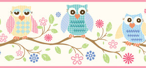 "Winnie Pink Wise Owlets Trail Border-lady owls, or ""owlets"" are perched on top of a scrolling tree branch. Cool patterns alternate all throughout each owlet,"
