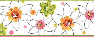 Butterbean Pink Crazy Daisies Toss Border-These abstract daisies are fun and beautiful! The orange, pink, and green colors make daisies and polka dots come alive with a watercolor feel.
