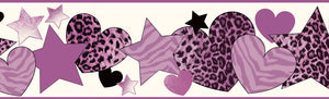 Diva Purple Cheetah Hearts Stars Border-This border features purple animal print hearts and stars against a cream-colored background.