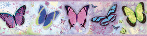 Kingston Purple Bff Butterflies Toss Border-butterflies in electric colors with sayings printed like best friends, love and dream, etc.