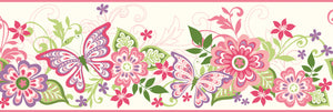 Kendra Pink Butterflies Blooms Trail Border-With paisley inspiration, this border features pink, red, purple, and green butterflies and flowers.