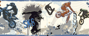 Bogie Blue Extreme Sports Border - features BMX and skateboard stunts