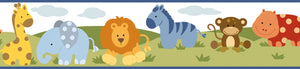 Simba White Jungle Safari Cartoons Border-A bright white sky with brightly colored jungle animals.