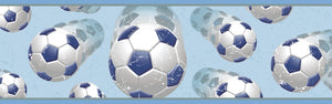 Beckham Blue Soccer Ball Motion Border- sky blue background, soccer balls look as though they are moving in slow motion, with the optical illusion
