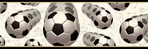 Beckham Black Soccer Balls Motion Border-Three-dimensional illusions of soccer balls in motion on white background.