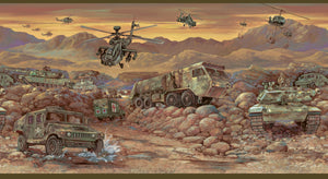 Hoorah Green Mash Unit Portrait Border-artistic rendering of a MASH unit at work shows a realistic, military landscape. Hummers, trucks, tanks, and helicopters