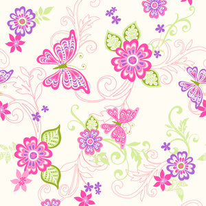 Paisley Pink Butterfly Flower Scroll Wallpaper-butterflies and flowers in bright fuchsias, purples, and greens dance across the wallpaper.
