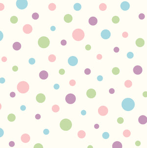 Dotty Pink Polka Dot Toss Wallpaper-A cream background hosts polka dots of various sizes and colors. Baby blues, pinks, purples, and greens