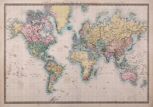 Vintage Map Wall Decal-With faded colors and intricate details, this world map has a classy, vintage style.