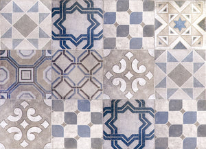 Vintage Tiles Kitchen Panel-peel and stick faux tile panel's intricate designs and lovely blue, grey and off-white hues add a Spanish flair.