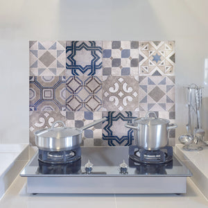 Vintage Tiles Kitchen Panel-peel and stick faux tile panel's intricate designs and lovely blue, grey and off-white hues add a Spanish flair. behind stove