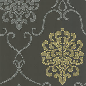 Suzette Grey Modern Damask Wallpaper-Sophisticated battleship grey is extremely invigorating with silver and chartreuse.