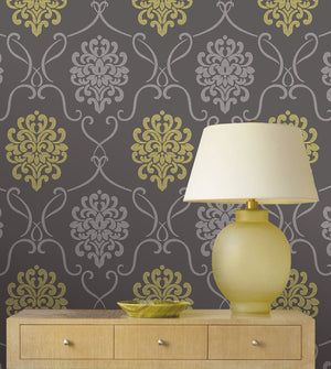 Suzette Grey Modern Damask Wallpaper-Sophisticated battleship grey is extremely invigorating with silver and chartreuse.  Hung on bedroom wall,