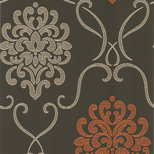 Suzette Brown Modern Damask Wallpaper-Espresso brown and extra cream, with a vitamin C burst of mandarin orange! This modern damask wallpaper treats your walls to a highly dimensional matte grain effect