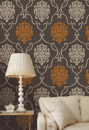 Suzette Brown Modern Damask Wallpaper-Espresso brown and extra cream, with a vitamin C burst of mandarin orange! This modern damask wallpaper treats your walls to a highly dimensional matte grain effect.  Hung in living room.