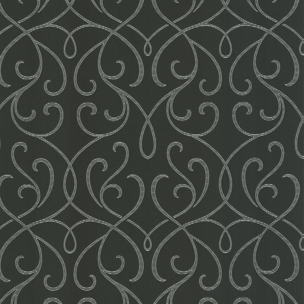 Decorline Alouette Charcoal Mod Swirl Wallpaper-SKU#DL30448- this modern swirl wallpaper has a matte grain texture with a rich charcoal grey with silver accents.