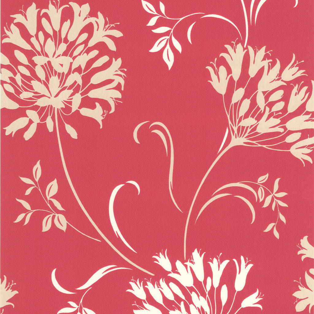 Nerida Pink Floral Silhouette Wallpaper-A bright pink with graphic punch, this modern floral wallpaper has cutting edge matte grain and strokes of shimmering pearl.