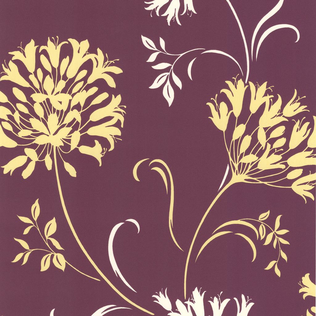 Nerida Purple Floral Silhouette Wallpaper-A juicy purple hue, popping with vivacious chartreuse and platinum.