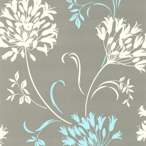 Nerida Light Grey Floral Silhouette Wallpaper-A crisp and contemporary design where a soft dove grey hue reveals a sophisticated floral silhouette in aqua and white.