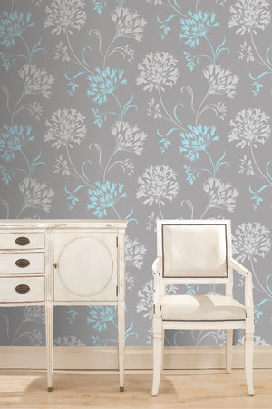 Nerida Light Grey Floral Silhouette Wallpaper-A crisp and contemporary design where a soft dove grey hue reveals a sophisticated floral silhouette in aqua and white.  shown hung in bedroom.