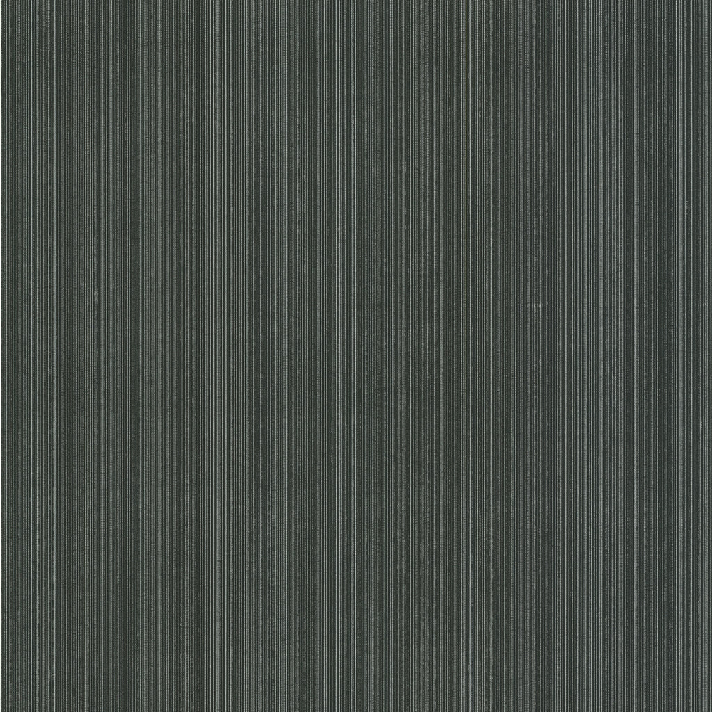 Suelita Charcoal Striped Texture Wallpaper-This textured wallpaper is an ultra posh shade of charcoal grey, almost black, with chic silver accents.