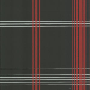 Oskar Charcoal Plaid Wallpaper-modern tartan of charcoal, red and ash plaid.