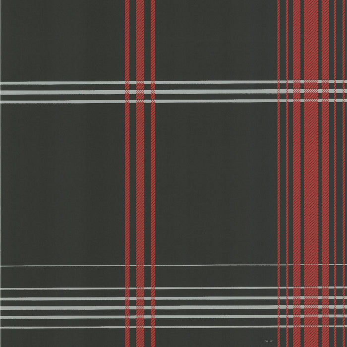 Oskar Charcoal Plaid Wallpaper