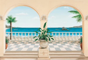 Terrasse Provencale Wall Mural-Mediterranean mural. Invite a French seaside view into your home.