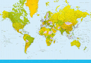 Map Of The World Wall Mural-yellow,and green countries make up this map with blue water.