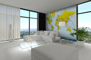 Map Of The World Wall Mural-yellow,and green countries make up this map with blue water.  hung in living room