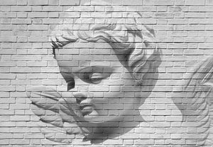Ideal Décor Angel Brick Wall Mural-SKU#DM160-A white brick wall holds the face of an angel.