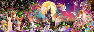 Fairyland Wall Mural-A castle in the distance, a garden of flowers in bloom, and a host of dancing fairies.