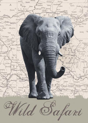 Wild Safari Wall Mural (SKU DM431)  An elephant stands tall against a printed map background in this unique wall mural.