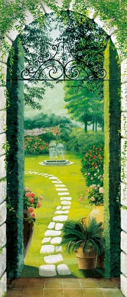 Vista Dal Porticato Wall Mural-A cobblestone walkway to a garden paradise is showcased.