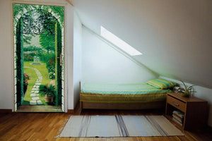 Vista Dal Porticato Wall Mural-A cobblestone walkway to a garden paradise is showcased.  hung on door in bedroom