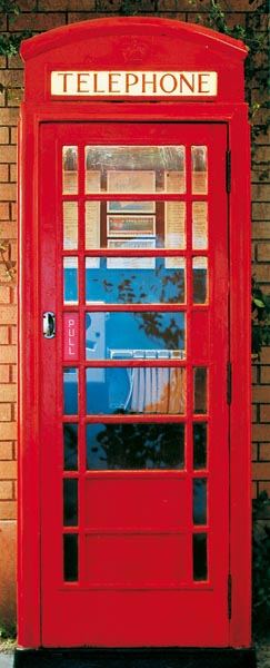 Telephone Box Wall Mural-enclosed bright red telephone box.