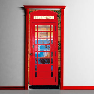 Telephone Box Wall Mural-enclosed bright red telephone box. hung on door