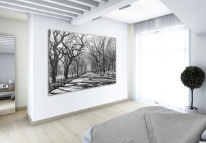 Poets Walk NY Wall Mural-black and white picture of a tree lined path. hung on wall in bedroom