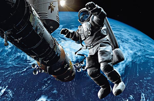 Space Cowboy Wall Mural-an astronaut floating beyond earth with a vast darkness stretching out behind him.
