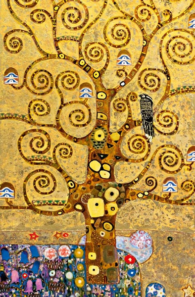 Tree Of Life Wall Mural-gold tones with various sized branches with a bird and flowers.