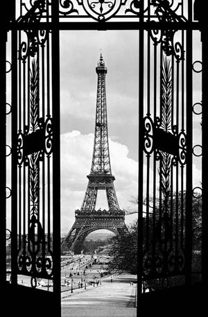 La Tour Eiffel 1990 Wall Mural-a sophisticated black and white palette, the Eiffel tower appears even more grand