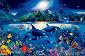 Majestic Kingdom Wall Mural-unique fantasy style to a breathtaking ocean scene  with orcas in the middle