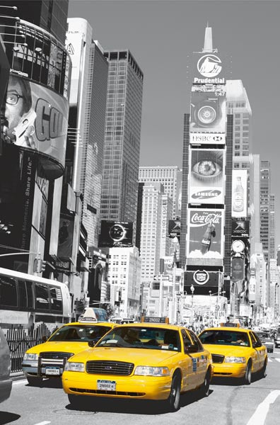 Times Square Wall Mural-Bright yellow taxi cabs call your attention against an otherwise black and white New York city scene.