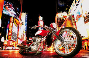 Midnight Rider Wall Mural-A shiny red motorcycle takes center stage on a city street