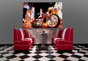 Midnight Rider Wall Mural-A shiny red motorcycle takes center stage on a city street.  hung in restaurant