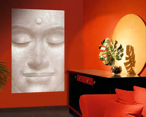 Smiling Buddha Wall Mural-A neutral toned smiling Buddha face.  hung in living room