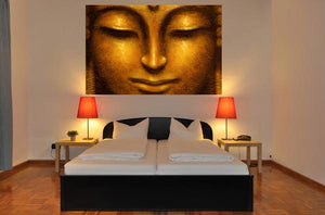 Siddhartha Wall Mural-smiling golden Buddha face.  hung in bedroom
